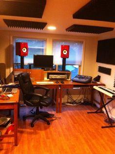 Loving how the red monitors in this studio stand out. Studio Gear, Home Studio, Recording Studio Design, Recording Equipment, Studios, Cool Stuff, Furniture, Home Decor