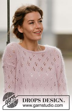 """Knitted DROPS jumper with lace pattern and vent in """"Alpaca"""" and """"Kid-Silk"""". Size: S - XXXL. Knitting Patterns Free, Knit Patterns, Free Knitting, Baby Knitting, Drops Design, Knit Cowl, Knit Crochet, Drops Patterns, Plus Size Shirts"""
