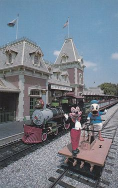 Postcard Disneyland Anaheim California CA Mickey and Donald at Train Station Disneyland Photos, Vintage Disneyland, Walt Disney Land, Disney Parks, Postcards For Sale, Picture Postcards, Anaheim California, Sunny California, Duck Pictures