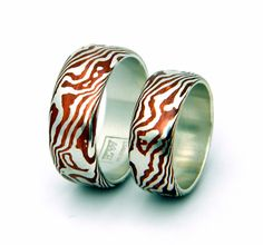 Wood Pattern Mokume Gane Rings $800.00 for the pair.   I think I am in love with these!