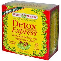Breezy Morning Teas, Detox Express, 100% Pure & Natural Herb Tea, Caffeine Free, 20 Tea Bags, 1.15 oz - iHerb.com. Bruk gjerne rabattkoden min (CEC956) hvis du vil handle på iHerb for første gang. Da får du $5 i rabatt på din første ordre (eller $10 om du handler for over $40), og jeg blir kjempeglad, siden jeg får poeng som jeg kan handle for på iHerb. :-)