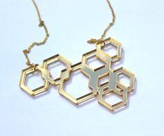 Asymmetric Gold Geometric Necklace By TaraMacJewellery on Etsy www.etys.com/shop/taramacjewellery  #lasercutjewellery #mirror #gold #goldnecklace #hexagon #geometry #geometric #geometricnecklace #sterlingsilver #gold #asymmetry #taramacjewellery #etsy