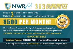 Learn How You Can Earn A Guaranteed $500 Monthly Residual Income. #MWRLIFE  http://tcpros.co/kNExj