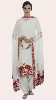Ivory-Red Parsi Gara Hand Embroidered Pure Crepe Suit