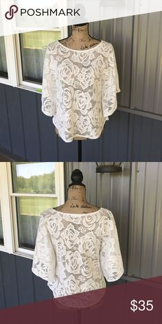 Dress Barn Poncho EUC ladies Dress Barn brand crochet style poncho. Size Medium. No rips, stains, or tears. Pull-on styling. Needs layering. Super cute and trendy poncho! Comes from smoke free home. Message for more details. Thanks for looking! Dress Barn Tops