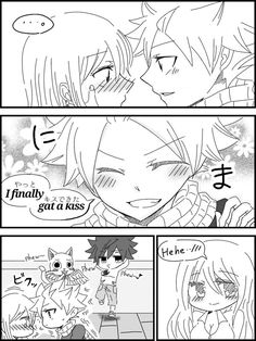 4/4 Fairy Tail Kids, Fairy Tail Family, Fairy Tail Natsu And Lucy, Fairy Tail Love, Fairy Tail Couples, Fairy Tail Manga, Fairy Tale Anime, Fairy Tales, Natsu And Lucy Kiss