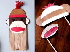 sock monkey party ideas - puppet craft project