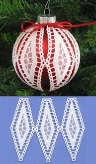 Machine Embroidery Designs at Embroidery Library! - Ornament Covers, Bells, & Bows (Christmas Lace)