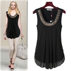 I like shirts with an embellished neckline. Blouse Styles, Blouse Designs, Love Fashion, Fashion Outfits, Womens Fashion, Modelos Fashion, Dress Patterns, Blouses For Women, Casual Wear
