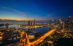 Download wallpapers Marina Bay Sands, Singapore, skyscrapers, evening, modern architecture