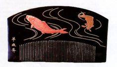 Edo black lacquer comb with carp, signed.