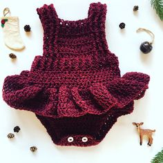 Crochet Patterns Romper Crochet Romper with Skirt Red Romper Crochet Baby by OwlTellYouSew Red Romper, Romper With Skirt, Crochet For Kids, Crochet Baby, Crochet Romper, Baby Overalls, Ruffle Dress, Baby Knitting, Lace Shorts