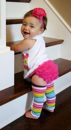 :) Baby leg warmers, ruffles on the bum & adorable flower headband. #leg_warmers