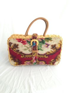 Large vintage wicker Koret Handbag, with Leather Interior and Leather Change Purse.