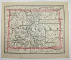 Antique Map Colorado New Mexico Map 1885 Vintage Geography Map Western Us State Map Vintage Decor Office Art Gift For Coworker Co Map Nm