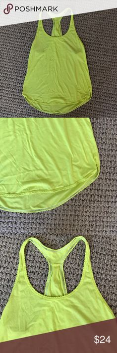 LuLuLemon Scalloped Racerback Tank Sz 4. Gently used condition. Neon green! lululemon athletica Tops Tank Tops