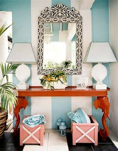 Bold Cabana Stripe Walls: http://beachblissliving.com/blue-cabana-stripe-beach-decor/