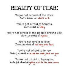 La verità sulla paura:     tu non hai paura del buio, hai paura di ciò che c'è dentro.   non hai paura dell'altezza, ma di cadere.   non hai paura delle persone intorno a te, hai solo paura di essere rifiutato.   non hai paura dell'amore, ma solo di non essere ricambiato.   non hai paura di lasciare andare, ma di accettare il fatto che chi amavi non c'è più.   non hai paura di provare di nuovo. tu hai paura di farti di nuovo male per lo stesso motivo.