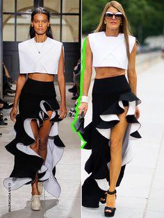 Anna Dello Russo wearing a Balenciaga boxy crop top and asymmetric skirt from the Balenciaga S/S '13 collection