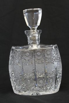 Cut Crystal Frosted Glass Liquor Decanter Bottle Hobstar Pattern European