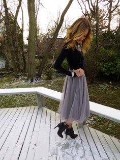 Fashion: Gray Lauren Conrad Tulle Skirt with Black Top