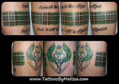 Scottish/ Irish Celtic Tartan/ Plaid Tattoo wrapping around leg Wolf Tattoos, Leg Tattoos, Arm Band Tattoo, Body Art Tattoos, Tatoos, Tattoo Art, Celtic Tattoos For Men, Celtic Cross Tattoos, Tattoos For Guys