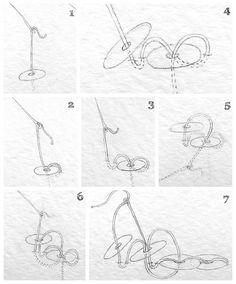 Como costurar lantejoulas (desenhos: Lena Klippel)