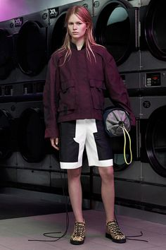 Alexander Wang resort '15: boxy utility jacket with shorts