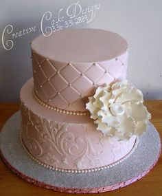 Pink and White stencilled Cake- love this