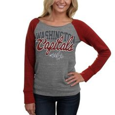 Washington Capitals Ladies Relaxed Fleece Tri-Blend Raglan Long Sleeve  Sweatshirt - Ash Red 8c1110463