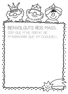 carta als reis Christmas Paper Crafts, Christmas Holidays, January Art, French Lessons, Christmas Printables, Xmas Cards, Coloring Pages, Colouring, Activities For Kids