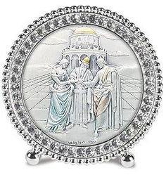 """Bible Story, Marriage, Wedding At Cana Standing Frames. The Height of Elegance, These Exquisite Frames Set the Standard for Gift Giving! Sterling Silver Images From Salerni of Italy Are Framed in Beautiful Frames That Are Embellished with Hand-set Swarovski® Crystals. Sterling Silver And/or Gold Plate -- 2.25"""" Dia -- Series 7e Hand Set Swarovski Crystal Standing Frames. Value Line http://www.amazon.com/dp/B00D6TJULM/ref=cm_sw_r_pi_dp_GdJsvb0RVEN9V"""