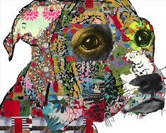 Dog Art -Mixed media-Collage   Ricki Mountain Art