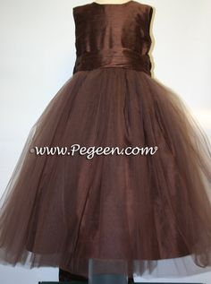 CHOCOLATE tulle ballerina silk flower girl dresses style 356 by Pegeen.   Blush colors available