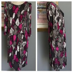 Silky Faux Wrap Nine West Dress Silky beautiful faux wrap dress from Nine West .  Pink , white , black & gray combo .  Long hidden back zipper .  Fully lined .  Made of 94% polyester/6% elastane . ✨Also available in my closet in size 6✨ Nine West Dresses