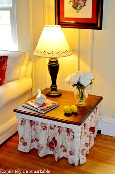 Easy Skirted Table Tutorial by Exquisitely Unremarkable