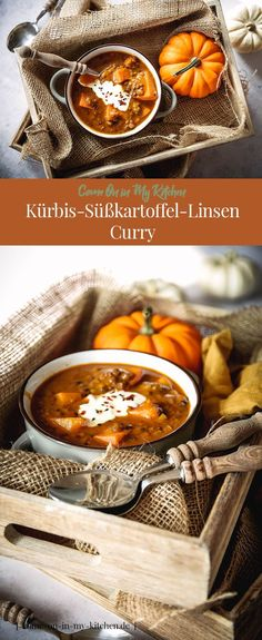 Kürbis-Süßkartoffel-Linsen Curry - Home and HerbsA super tasty and simple one-pot dish with seasonal vegetables. My pumpkin and sweet potato lentil curry just fits great in autumn / winter and warms when it's a little colder outside. Lentil Recipes, Vegan Recipes, Sweet Potato Lentil Curry, Cake Vegan, Plat Simple, Aloo Gobi, One Pot Dishes, Vegetable Seasoning, Winter Food