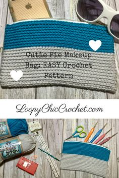 EASY Makeup Bag or Crochet Hook Case...Crochet Pattern and Photo Tutorial. LoopyChicCrochet.com