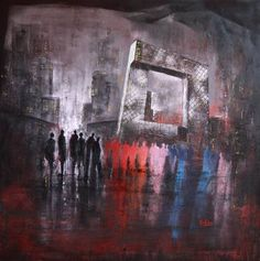 Original Architecture Painting by Massimo Onnis Painting People, Beijing, Saatchi Art, Original Paintings, City, Canvas, Fotografia, Abstract Backgrounds, Tela