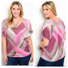 """Pink top (1x 2x 3x) Pink top  1x: L 28"""" B 42""""• 2x: 2x: L 28"""" B 44""""• 3x: L 28""""  B 46"""" Materials- 95% polyester/ 5% spandex. Very stretchy! Lightweight. Dolman style sleeves.  NWOT. Brand new without tags. Availability- 1x•2x•3x • 2•2•2 PLEASE do not purchase this listing. Price is firm unless bundled. No trades2L5 Boutique Tops Blouses"""