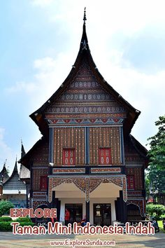Visit Taman Mini Indonesia Indah, Jakarta | Explore the traditional houses from all over Indonesia, watch the cultural events, go to the 18 museums in tmii, stroll in the parks and gardens, have thrilling rides, have fun in the waterpark, enjoy stunning view from the cable car | #ExploreSunda Hindu Temple, Buddhist Temple, Timor Timur, Car Station, Information Center, Cultural Events, Top Destinations, Place Of Worship, Stunning View