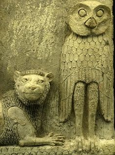 Burney Relief owl and lion.,detail Babylonian relief,1800  BC