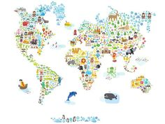 LiLa AnD cLoE: POP & LOLI WORLD WALL MAP, removable, reusable, repositionable for KIDS´ ROOM