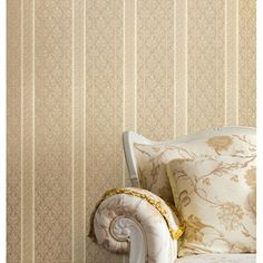 A neutral wallpaper with the look of luxuriously embossed heavyweight Italian silk stripes 2537-M3937 Beige Brocade Stripe - Ercole - Beacon House Wallpaper