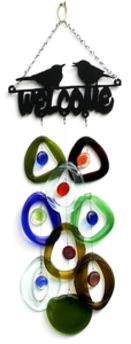 Metal Topped Wind Chimes by Bottle Benders. American Made. See the designer's work at the 2016 American Made Show, Greenville SC May 17-19, 2016. americanmadeshow.com #americanmadeshow, #americanmade, #recycled, #recycledglass, #windchime, #bird, #welcome
