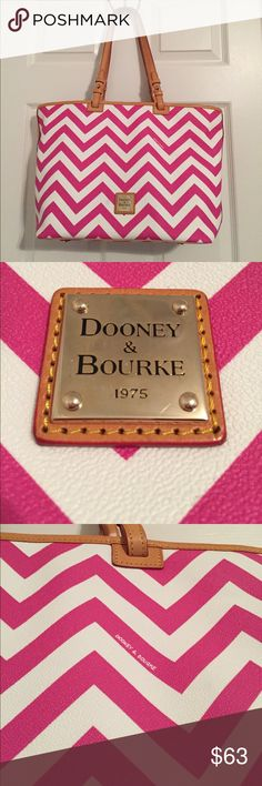 Dooney & Bourke Tote Planning a trip soon? This big pink and white Dooney & Bourke tote went with me everywhere on my trip to Florida! I toted around my big professional camera to capture beautiful scenery, my big makeup bag, wallet, iPad... etc. It's huge and ready to carry all of your belongings! There are small light marks on the back of the purse and a small one on the front. The inside is in perfect condition! Don't pass this bag up💖 💥💥Make an offer🤗you never know.. this could be…