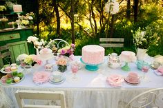 Tea party table close-up dessert tables, tea parti, pink cakes, teas, pink cupcakes, party tables, tea party wedding, event photography, bridal showers
