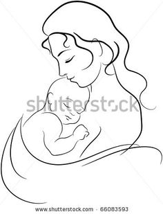 this style of drawing  only with the baby's head in the crook of the mother's elbow and the mother looking at the baby