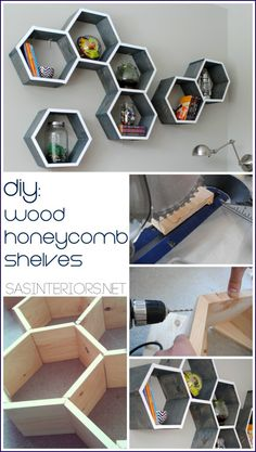 {DIY Tutorial} How-To Make Wood Honeycomb Shelves.  Why spend hundreds, when you can make them yourself!  These  shelves complete the look o...