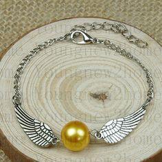 Harry potter Golden Snitch Bracelet, Silver Double sided wings,friendship bracelet,bridesmaid bracelet on Etsy, $0.99